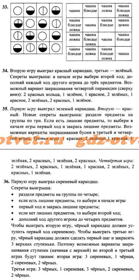 ГДЗ Информатика 3 класс Раздел 4 Задания 33-36 Горячев, Горина