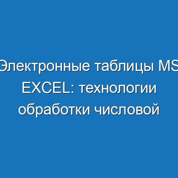 Электронные таблицы MS Excel: технологии обработки числовой информации - 9 КЛАСС